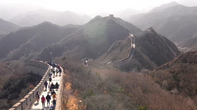 badaling great wall of china under sunlight of winter - badaling stock videos & royalty-free footage