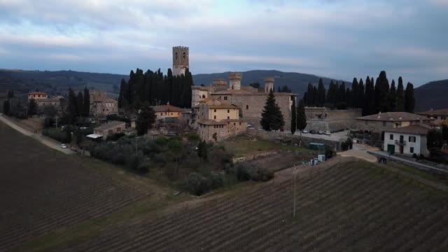 badia a passignano aerial view - tuscany stock videos & royalty-free footage