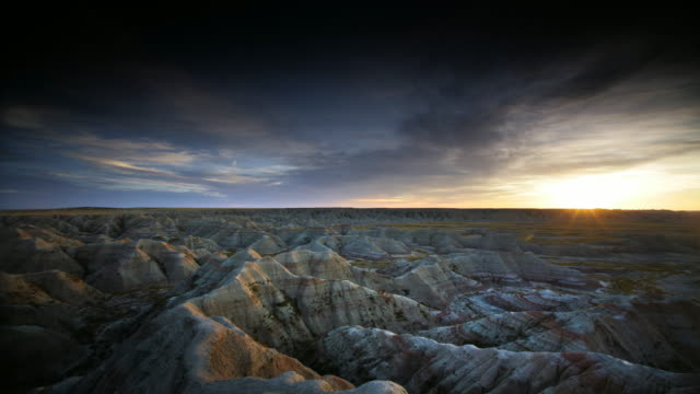 ws pan badlands at sunset, south dakota, usa - south dakota stock videos and b-roll footage
