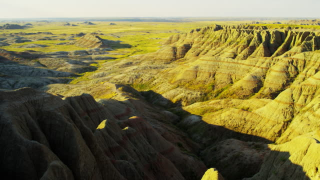 usa badlands view of sandstone buttes desert prairie - badlands stock videos & royalty-free footage