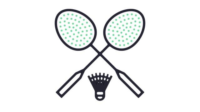 vídeos de stock, filmes e b-roll de animação do ícone de badminton - badmínton esporte
