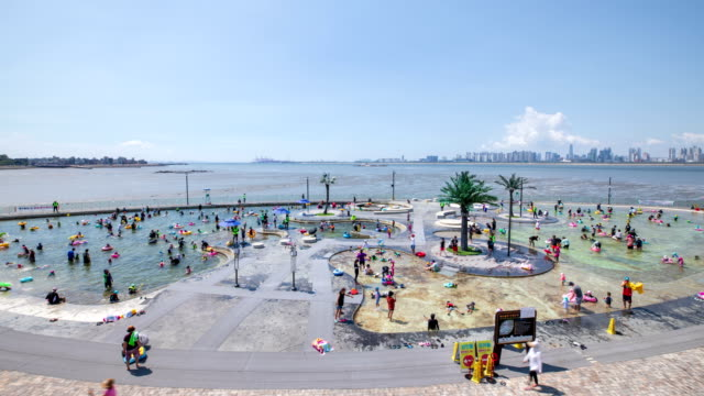 baegot hanul park seawater pool scenery / siheung, kyonggi-do, south korea - lido stock videos & royalty-free footage