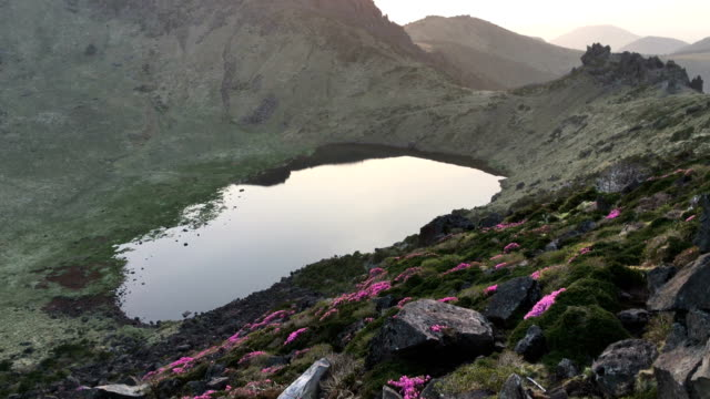 Baengnokdam(crater lake) in top of Hallasan mountain at sunrise in spring