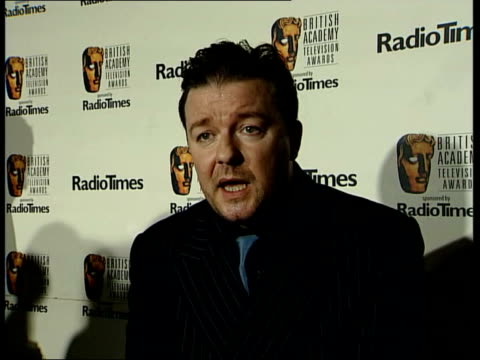 gervais wins again / red carpet problems; itn ricky gervais interviewed sot - we worked on it really really hard, so we were proud of it whether it... - ricky gervais stock videos & royalty-free footage