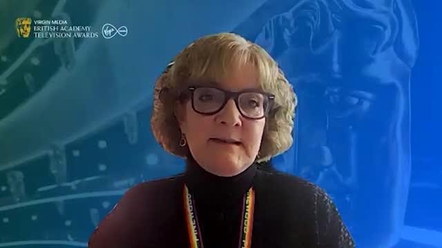 bafta deputy chair, sara putt, speaks to the media after this year's bafta tv awards nominations were announced. sir steve mcqueen's small axe... - 英国アカデミー賞テレビ部門点の映像素材/bロール