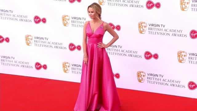 london southbank royal festival hall ext various of amanda holden posing on red carpet clare foy along red carpet - british academy television awards stock videos & royalty-free footage