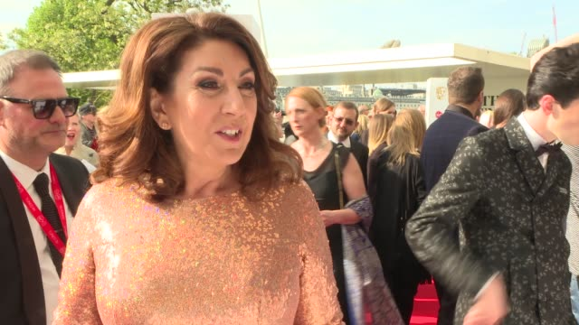 bafta television awards 2018: red carpet arrivals and interviews; uk, london, southbank: jane mcdonald interview. england: london: southbank: ext... - jane mcdonald stock videos & royalty-free footage