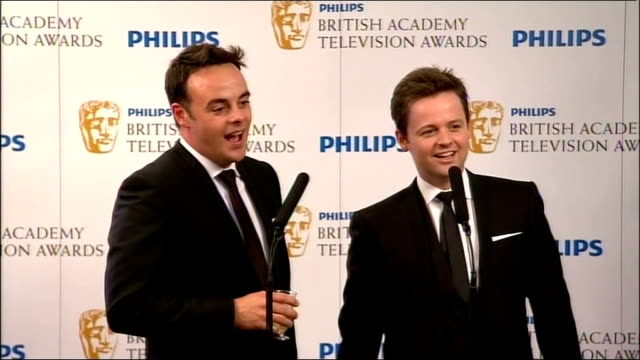 backstage interviews ant dec press conference continued sot - 2010 video stock e b–roll
