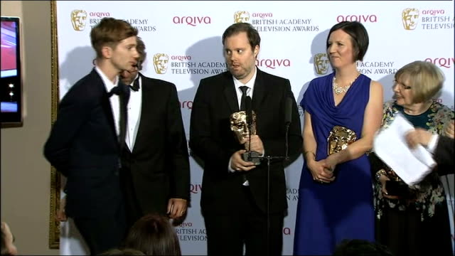 winners press conference part 1 winners of best mini series award for 'in the flesh' dominic mitchell luke newberry jonny campbell hilary martin and... - martin campbell stock videos and b-roll footage
