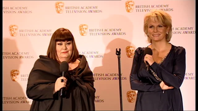 winner's room french saunders press conference sot didn't expect all this when they first started never set out with a plan / on madonna never doing... - dawn french stock videos & royalty-free footage