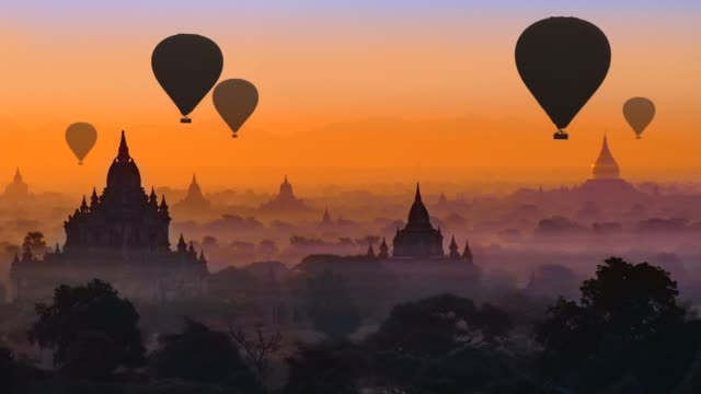 bagan, myanmar - hot air balloon stock videos & royalty-free footage