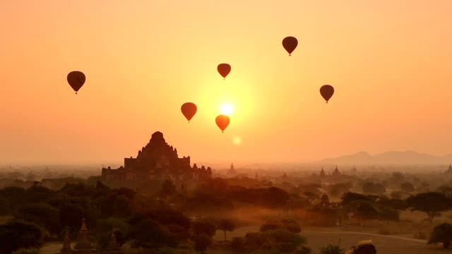 bagan sunrise scene - myanmar stock videos and b-roll footage