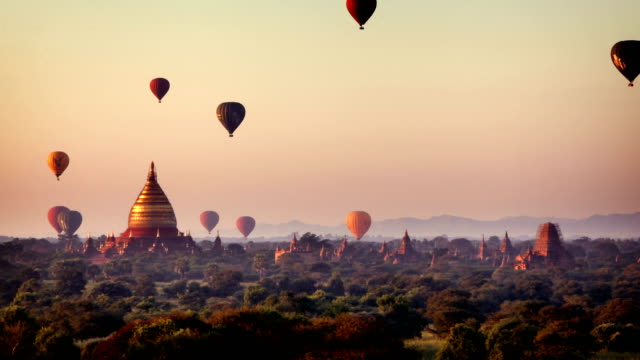 bagan temples at sunrise, myanmar (burma) - myanmar stock videos and b-roll footage
