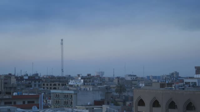 baghdad at dusk, wide shot - baghdad stock videos & royalty-free footage