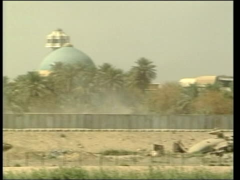 baghdad concrete barrier around one of saddam hussein's palaces pan - palacio stock videos and b-roll footage