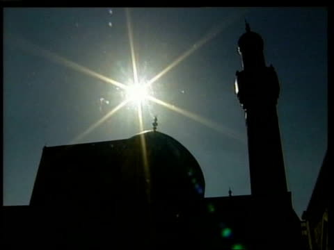 baghdad ext la gv 'mother of battles' mosque as solitary iraqi woman away tower of mosque int tgv muslim worshippers gathered for friday prayers tbvs... - bookseller stock videos and b-roll footage