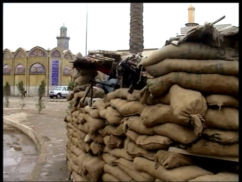 baghdad iraqi men running along to sandbag bunker soldiers manning machine gun posts in bunker hazi alrawi press conference sot translated not only... - sandbag stock videos and b-roll footage