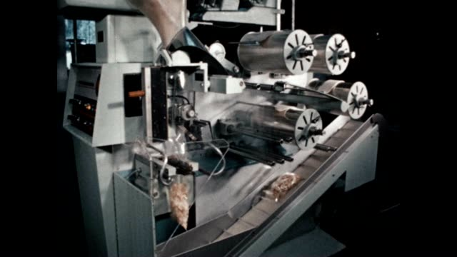 a bagmaster machine fills potato chips in bags - salty snack stock videos & royalty-free footage