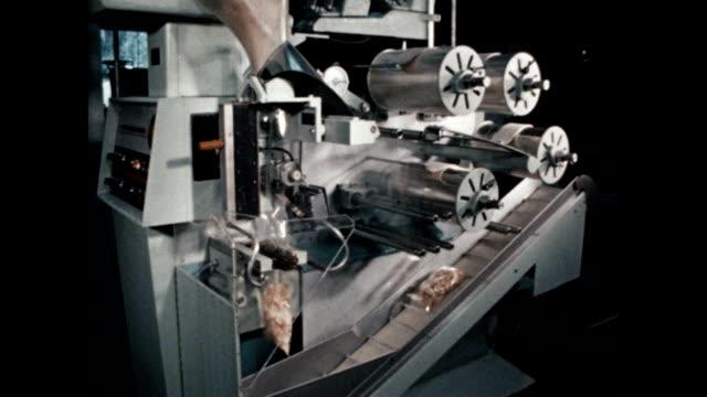 bagmaster machine fills potato chips in bags. - 塩味スナック点の映像素材/bロール