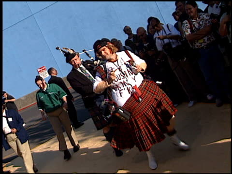 bagpipes at the 'austin powers in goldmember' premiere at universal amphitheatre in universal city, california on july 22, 2002. - bagpipes stock videos & royalty-free footage