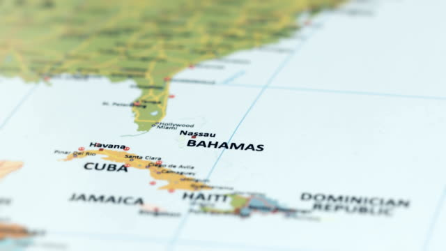 north america bahamas on world map - nassau stock videos & royalty-free footage