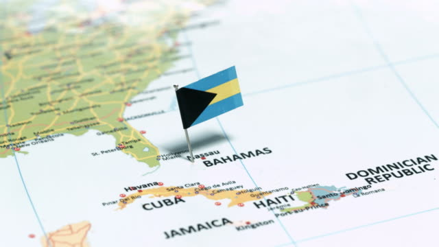 bahamas with national flag - bahamas stock videos and b-roll footage