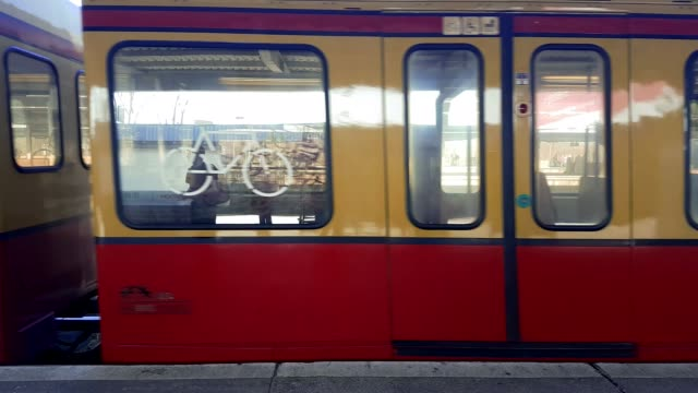 s bahn public transport train setting off from station in berlin germany - train vehicle stock videos & royalty-free footage