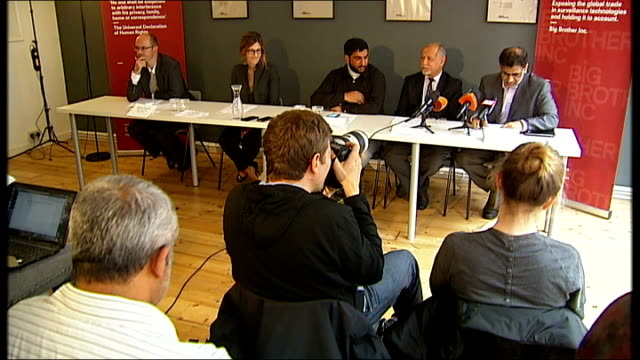 bahraini democracy activists being electronically monitored in uk int bahraini democracy activist exiles at press conference close shot of mobile... - conference phone stock videos & royalty-free footage