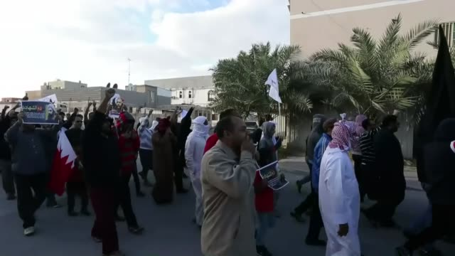 bahraini protesters carry flags and posters of shiite cleric nimr alnimr as they march during a protest against the execution of alnimr by saudi... - execution stock videos & royalty-free footage