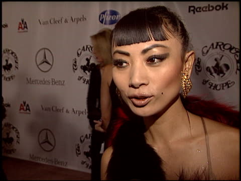 vídeos de stock, filmes e b-roll de bai ling at the carousel of hope gala at the beverly hilton in beverly hills, california on october 23, 2004. - bai ling