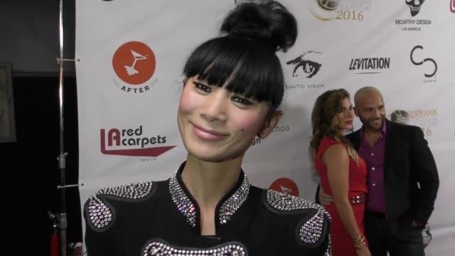 vídeos de stock, filmes e b-roll de interview bai ling talks about her movie better criminal at the world premiere of better criminal on november 30 2016 in hollywood california - bai ling