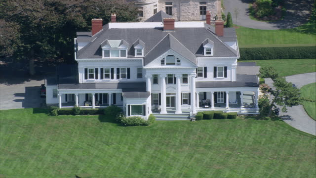 aerial bailey's beach mansion / newport, rhode island, united states - new england usa stock videos & royalty-free footage