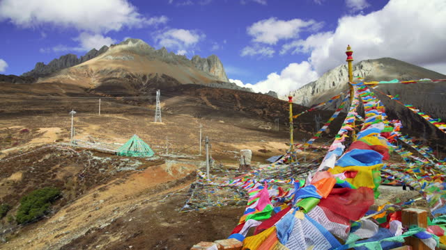 baimang or baima (white horse) snow mountain, shangri-la, yunnan, china - traditionally tibetan stock videos & royalty-free footage