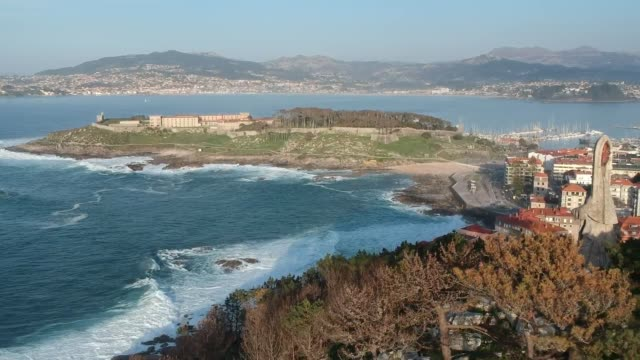 baiona parador and castelo de monterreal from the virgin of the rock, spain - galicia stock videos & royalty-free footage