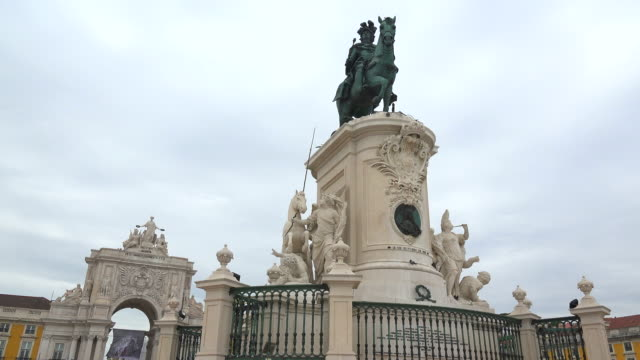 Baixa, Praca do Comercio, triumphal arch and memorial of King Jose I, Lisbon, Portugal
