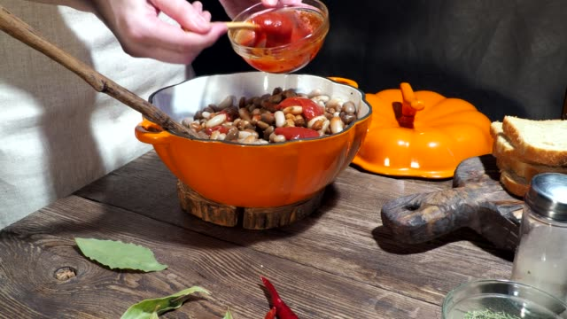 baked beans cooking - ketchup stock videos and b-roll footage