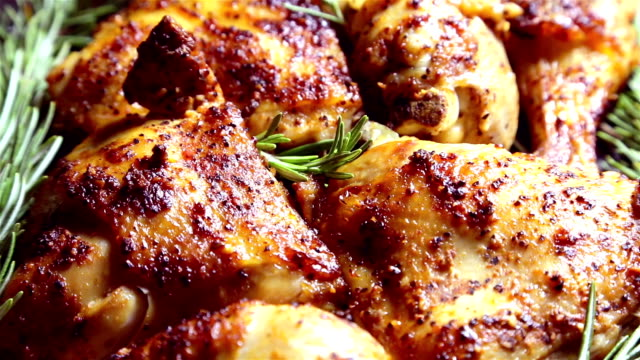 baked chicken - grilled chicken stock videos and b-roll footage