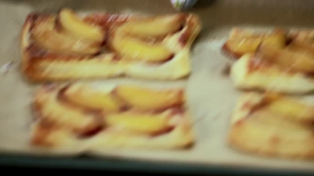 baked french dough with plums - plum stock videos & royalty-free footage