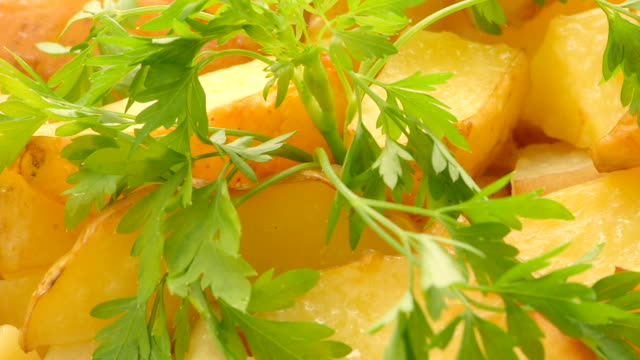 baked potato sliced with sprig of parsley - parsley stock videos and b-roll footage