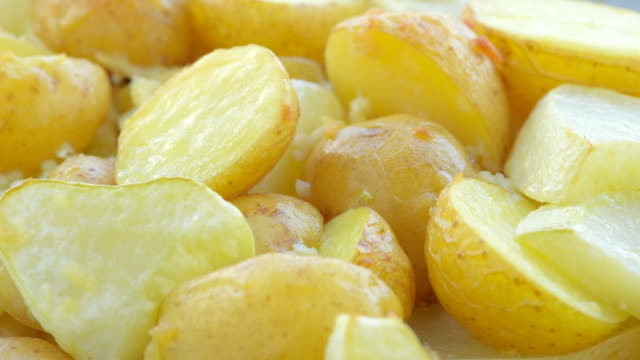 baked sliced potatoes and zucchini