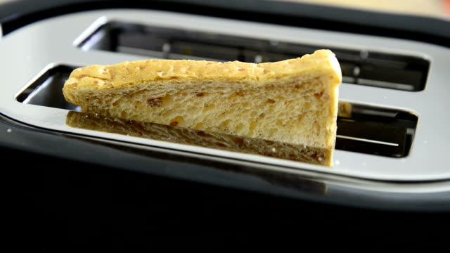 vídeos de stock e filmes b-roll de feijões brinde pronto no tostador - toaster appliance