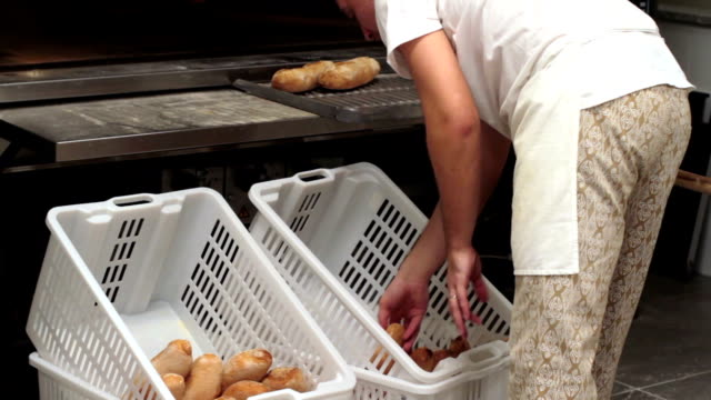 Baker inserting bread on baskets