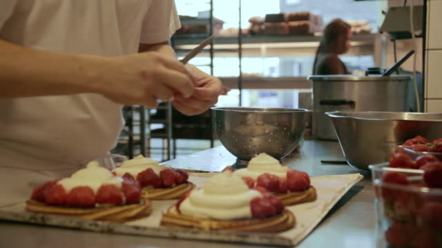 ms baker making strawberrycake / copenhagen, seeland, denmark    - copenhagen stock videos & royalty-free footage