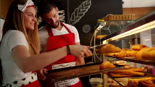 bakers arranging a pastry - croissant stock videos & royalty-free footage