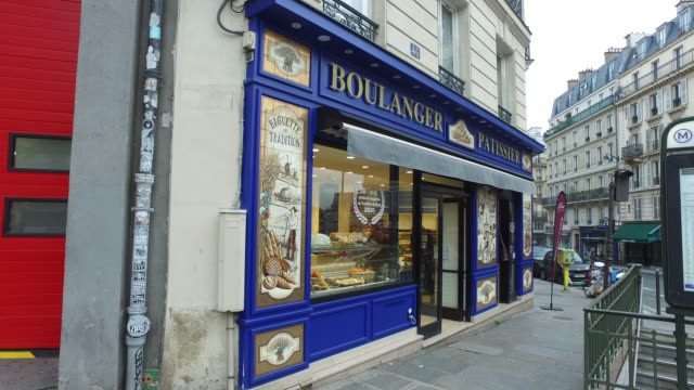 a bakery in paris french prime minister edouard philippe announced that france will shut shops restaurants and entertainment facilities to slow down... - french bakery stock videos & royalty-free footage