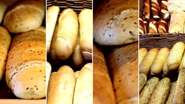 bäckerei produkte. tm - montage filmtechnik stock-videos und b-roll-filmmaterial