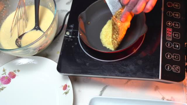 baking pancakes - ladle stock videos & royalty-free footage