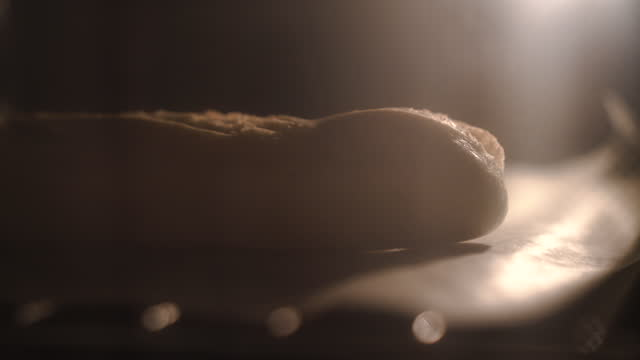 baking sandwich baguette in the oven - cinematography stock videos & royalty-free footage