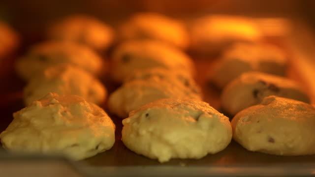 vidéos et rushes de plaque de cuisson avec les biscuits à l'avoine délicieux au four - baking