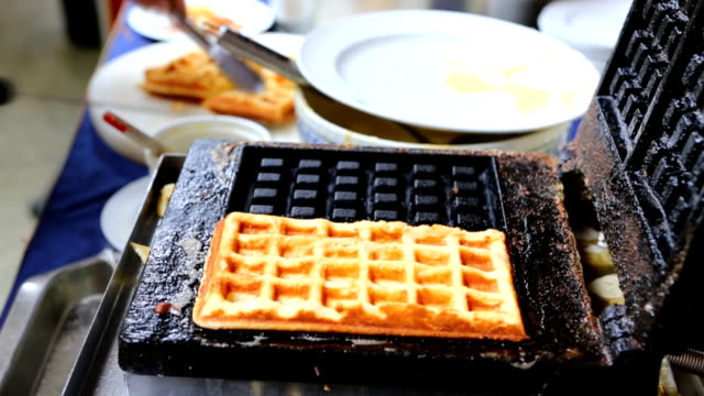 baking waffles - waffle iron stock videos and b-roll footage